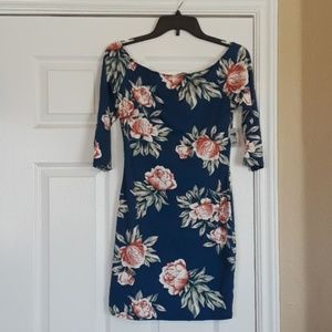 Off-shoulder Indigo Floral Bodycon Mini Dress